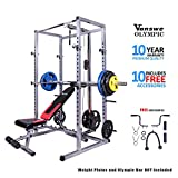 Power Rack with Bench and Lat Pull Attachment Personal Home Gym Total Body Workout System