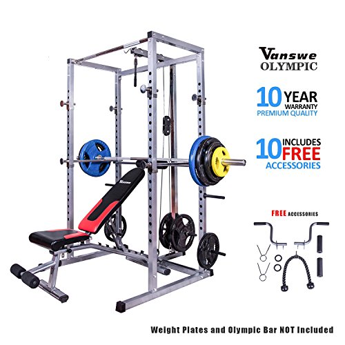 Power Rack with Bench and Lat Pull Attachment Personal Home Gym Total Body Workout System by Vanswe