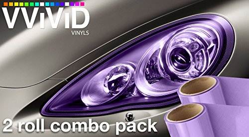 VViViD Purple Gloss Vinyl Headlight Foglight Transparent Tint Wrap Self-Adhesive 12
