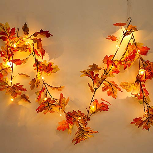 LED Lighted Fall Garland, Pumpkin Maple Leaves Garland with Sunflowers, Maple Leaves, Pine Cones, and Berries Decor for Halloween Thanksgiving Day (Maple Leaves1.7m)