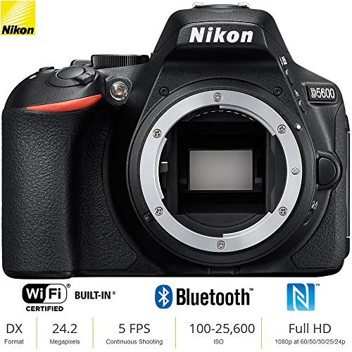 Nikon D5600 24 MP DX-Format Full HD 1080p Digital SLR Camera Body 1575B – Black (Renewed)