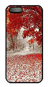 iPhone 5 5S Case Nature Red Leaves PC Custom iPhone 5 5S Case Cover Black