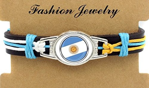 Argentina Soccer Adjustable Leather Wristband Jewelry Bracelet - Shipped from U.S.A.