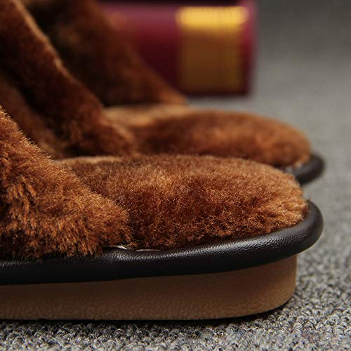 Purple Fuzzy Scuff Warm Genuine Leather Lined Winter Slippers Unisex House Slippers BwPRx7v