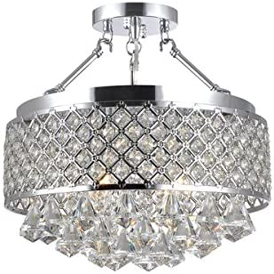 Candice Chrome and Crystal Semi Flush Mount Chandelier