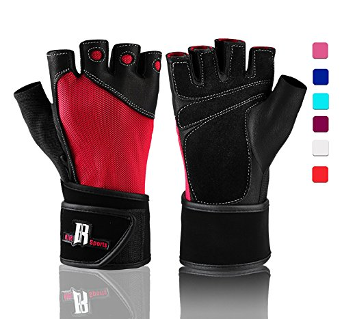 RIMSports Weightlifting Gloves with Wrist Support - Workout Gloves with Wrist Padding for Lifting Weights, Cross Training, Power Lifting, Gym Equipment - Gym Gloves (Red XS)