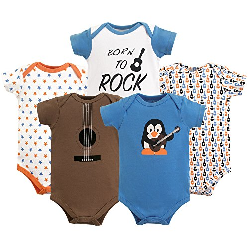 Luvable Friends Baby Infant Basic Bodysuit, 5 Pack, Penguin Guitar, 12M(9-12 Months)