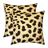 CaliTime Pack of 2 Cozy Fleece Throw Pillow Cases Covers for Couch Bed Sofa Animal Skin Pattern Printed Both Sides 18 X 18 inches Leopard