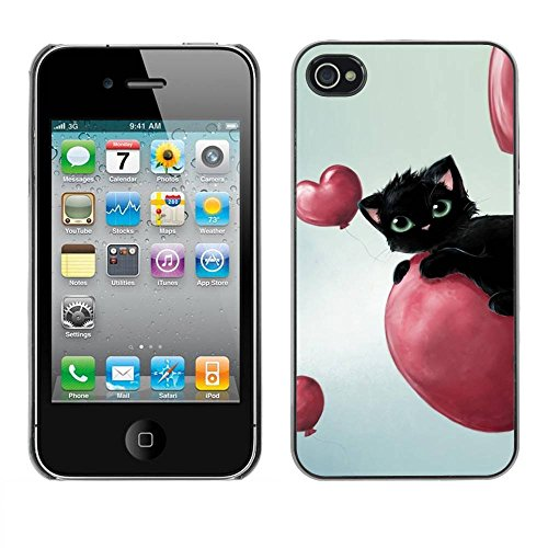 Paccase / Housse Coque Étui de protection pour - Cute Black Cat - Apple Iphone 4 / 4S