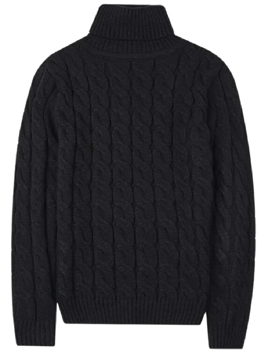 YIhujiuben Men High Neck Pullover Slim Elastic Thermal Wool Blend Knit Sweaters