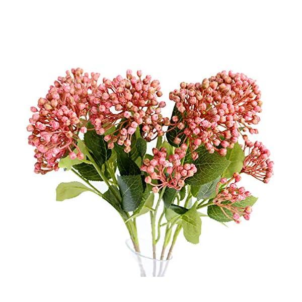 Xilyya 3pcs Artificial Plastic Hydrangea Flowers Wedding Centerpieces for Bridal Bouquet DIY Accessories Wedding Wreath Arrangement (Red)