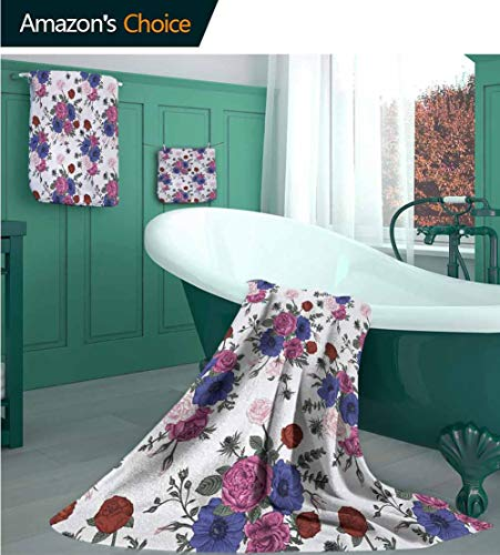 Anemone Flower Luxury Decorative European Bath Towel(3-Piece Packed), Bouquets of Roses Anemones Eustoma Colorful Corsage Bedding Plants Design,Multipurpose Bathroom Towel for Hand,Face Multicolor (Quicksilver Bedding Full)