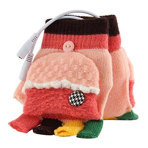 Senoke USB Gloves Heated Warmer Knitted Gloves for Women Men Girls Boys