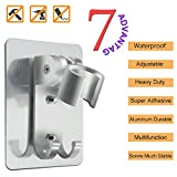 Adjustable shower head holder wall mount bracket with 2 hanger Hooks, Aluminum,Super Heavy Duty, strong adhesive for Bathroom,No-Damage Hanging Strips,Better than Suction Cups(Sliver)