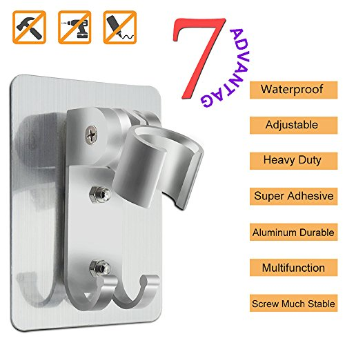 Adjustable shower head holder wall mount bracket with 2 hanger Hooks, Aluminum,Super Heavy Duty, strong adhesive for Bathroom,No-Damage Hanging Strips,Better than Suction - Glasses Than Better Contacts
