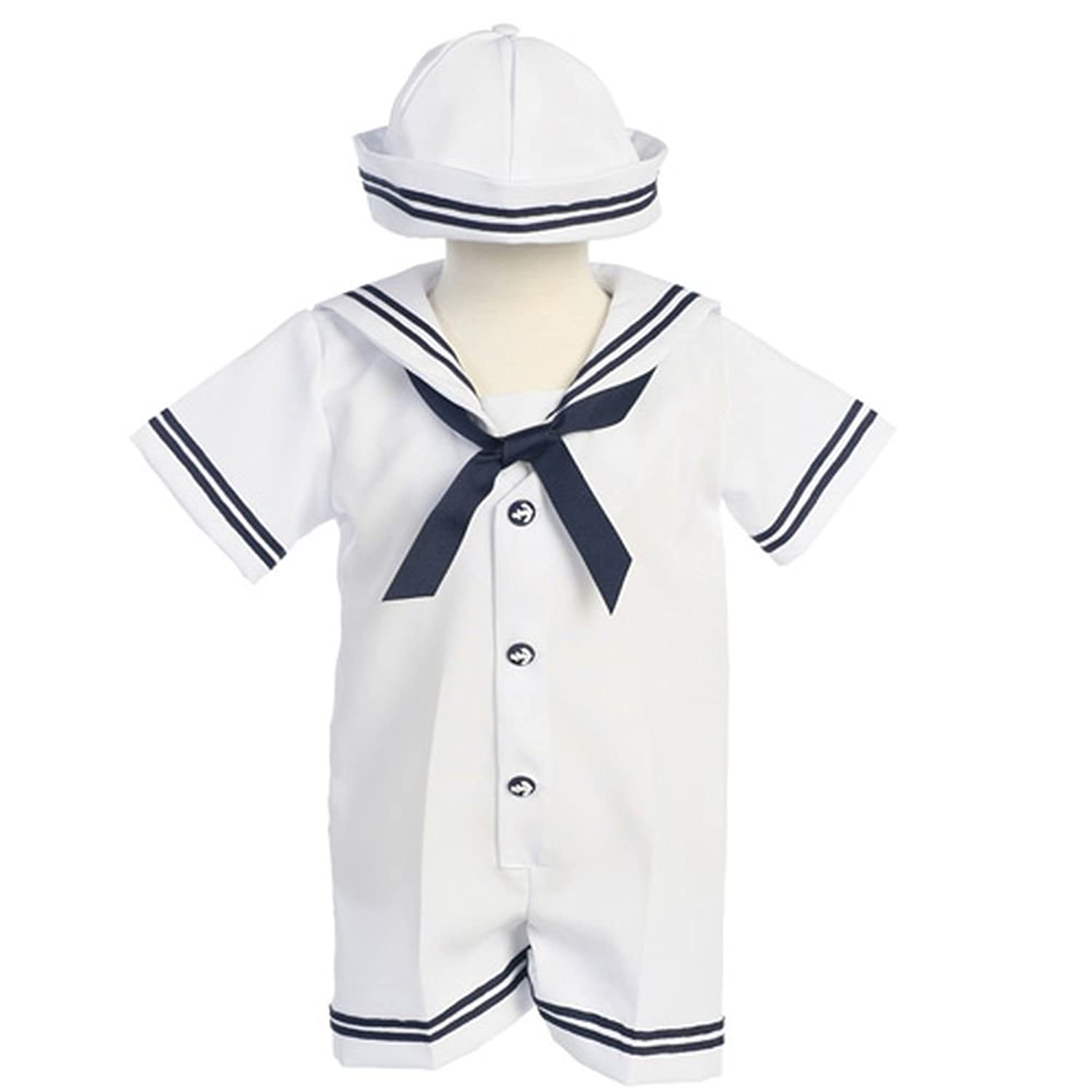 Amazon Lito Baby Boys White Navy Sailor Romper Hat Outfit Set