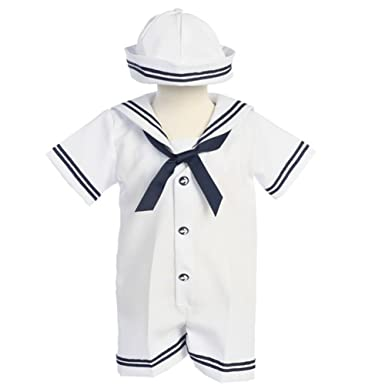 fd918241bf6ad Image Unavailable. Image not available for. Color: Lito Baby Boys White  Navy Sailor Romper Hat Set ...