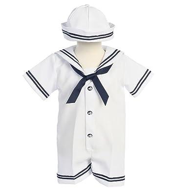 ec5b53499 Amazon.com  Lito Baby Boys White Navy Sailor Romper Hat Outfit Set ...