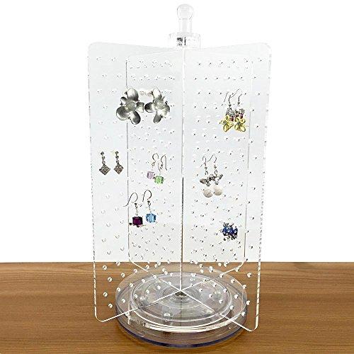 Ikee Design Acrylic Rotating 216 Pairs Earring Display Jewelry Display Earring Organizer Earring Holder