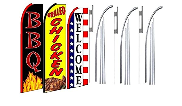 Grilled Chicken Welcome King Swooper Feather Flag Sign Kit with Pole and Ground Spike Pack of 3 BBQ