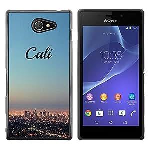 Be Good Phone Accessory // Dura Cáscara cubierta Protectora Caso Carcasa Funda de Protección para Sony Xperia M2 // California skyline city LA los Angeles