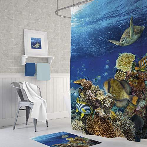 American Bath Linen Decor Shower Curtain SetBathroom AccessoriesDigital Photo ArtEcoFriendlyWaterRepellent FabricOdorlessIncluded Hooks Aquarium 71 x 71
