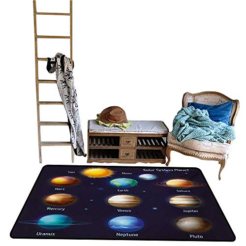 Indoor Floor mat,Solar System Planets and The Sun Pictograms Set Astronomical Colorful Design 4'x6',Can be Used for Floor Decoration Bb Set Solar System