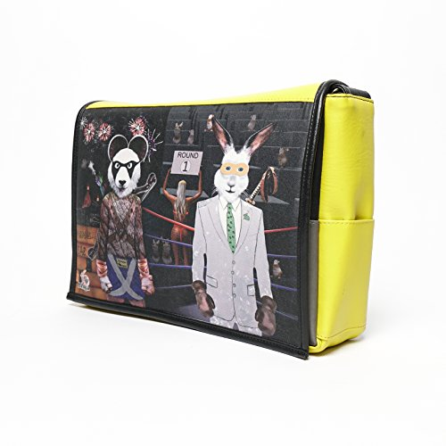 Student - Panda Vs Rabbit Print - Benga Rabbit - Yellow Vegan Leather Messenger Bag - Special Addition by Benga Rabbit