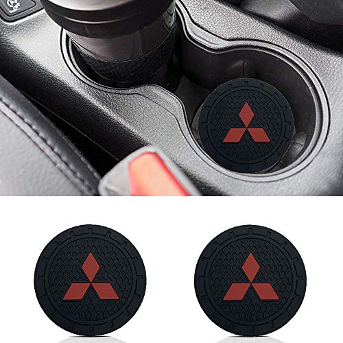 Auto sport 2.75 Inch Diameter Oval Tough Car Logo Vehicle Travel Auto Cup Holder Insert Coaster Can 2 Pcs Pack (Mitsubishi) from monochef