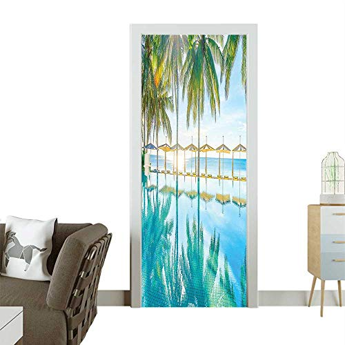 Door Sticker Wall Decals by The Beach Bright Seas al Eden Hot Sunny Humid Coastal Bay Green Easy to Peel and StickW31 x H79 INCH -