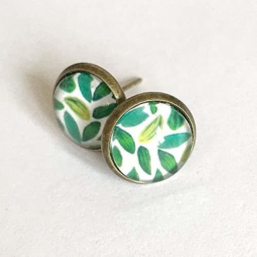 Vintage Style Leaves Earrings - Green - Garden - Glass - Mori Girl - Ear Studs - Forest - Bronze - Antique Brass