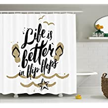 """Ambesonne Quotes Decor Collection, """"Life is Better in Flip-Flops"""" Sandy Beach Starfish Getaway Seaside Enjoyment Design, Polyester Fabric Bathroom Shower Curtain Set with Hooks, Ivory Black"""