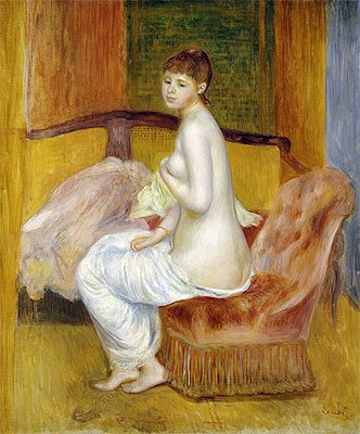 Pierre-Auguste Renoir (Seated Nude, Resting, 1885) Hand-Painted Art Reproduction with Oil on Canvas (26.8x22 in) (68x56 cm)