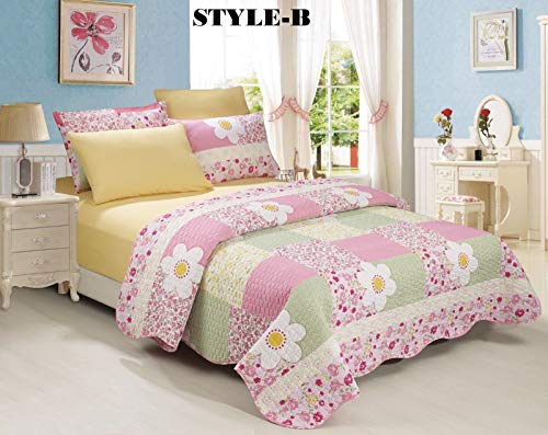 no!no! 6-Piece Bedding Quilt Bedspread Set w/Two Pillow Cases Shams Size Queen Style B from no!no!