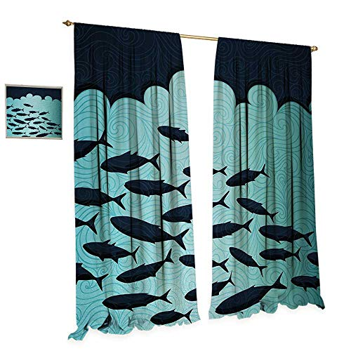 Anniutwo Fish Room Darkening Wide Curtains Surreal Ornate Swirl Waves and Group of Fish with Nautical Under The Sea Theme Decor Curtains by W120 x L84 Blue Turquoise -