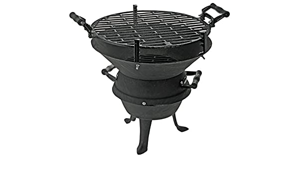 BBQ Parrilla de hierro fundido Brasero Barbacoa de carbón: Amazon.es: Jardín