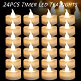 Micandle 24pcs Warm White Flickering Timing Function LED Tea Light Flameless Candles,Battery-operated LED Tealights (6 Hrs on 18 Hrs Off) for Wedding Christmas Outdoor Party Decoration