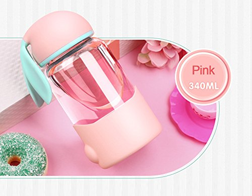 High Borosilicate Glass Water Bottle With Silicone Sleeve...