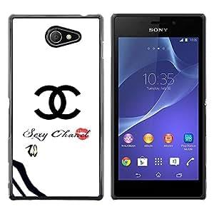 Caucho caso de Shell duro de la cubierta de accesorios de protección BY RAYDREAMMM - Sony Xperia M2 - Clothing White Fashion Lips Text