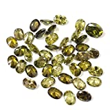 Neerupam collection Dark Peridot Colour Cubic Zirconia AAA Quality Diamond Cut Oval Shape loose gemstone