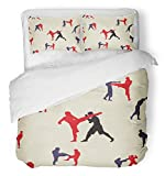 Emvency Bedsure Duvet Cover Set Closure Printed Action Thai Boxing Muay Martial Collection Popular Style Text Graphic Asian Attack Decorative Breathable Bedding With 2 Pillow Shams Full/Queen Size