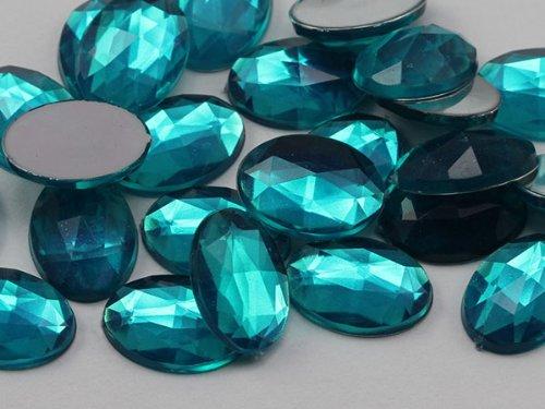 25x18mm Blue Zircon .BZ Flat Back Oval Acrylic Jewels High Quality Pro Grade - 20 Pieces ()