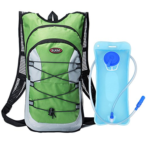 Water Bladder Bag Backpack Hydration Pack Hiking Camping 2L Green - 2
