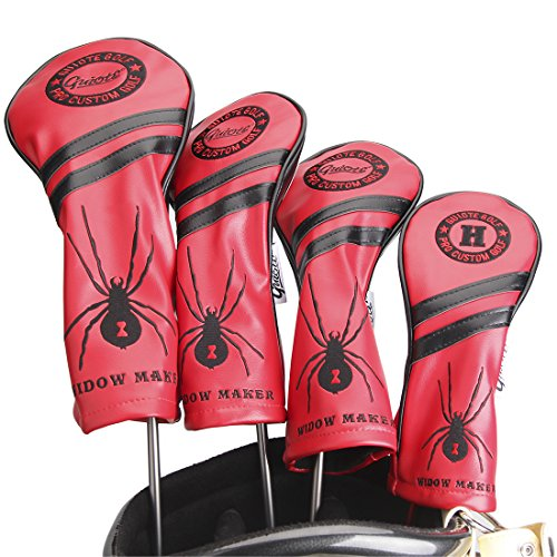 Guiote #1#3#5 H Golf Wood Headcovers 4PC/Set 460CC Driver/Fairway Wood/Hybrid PU Leather Vintage Golf Clubs Head Covers Set for Taylormade, Callaway, Titleist, Ping Nike Yamaha (Widow Maker-Red)