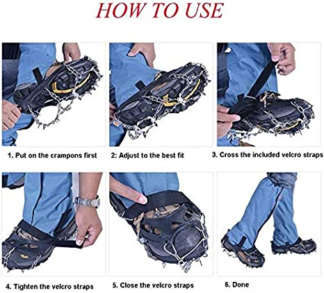Terra Hiker 18 Teeth Crampons Ice Snow Grips for Shoes Boots Men Women 7.5-11.5