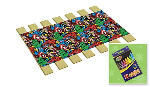 Custom Made in the U.S.A.! Youth/Toddler Size Avengers Comic Book Hero Themed Bed Slats Bunky Boards - Cut to the Width of Your Choice (28'' Wide) - FREE box of Crayons with Purchase by The Furniture Cove