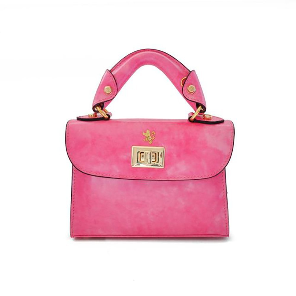 Pratesi Womens [Personalized Initials Embossing] Italian Leather Lucignano Small Handbag in Pink