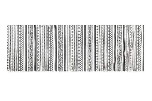 2' x 6' Runner Off-White and Black Batik Pattern Printed Cotton Small Runner Rug, Carpet or Mat - Off-White and Black batik pattern printed cotton small rug. Made in India. Thin flat woven construction. 100% woven cotton. Great housewarming gift or present or entry, kitchen and bathroom mat. - runner-rugs, entryway-furniture-decor, entryway-laundry-room - 516uFQMhhhL -