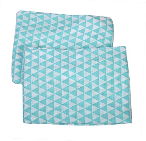Bacati Aztec/Tribal Crib/Toddler Bed Fitted Sheets Cotton Muslin 2 Piece, Aqua