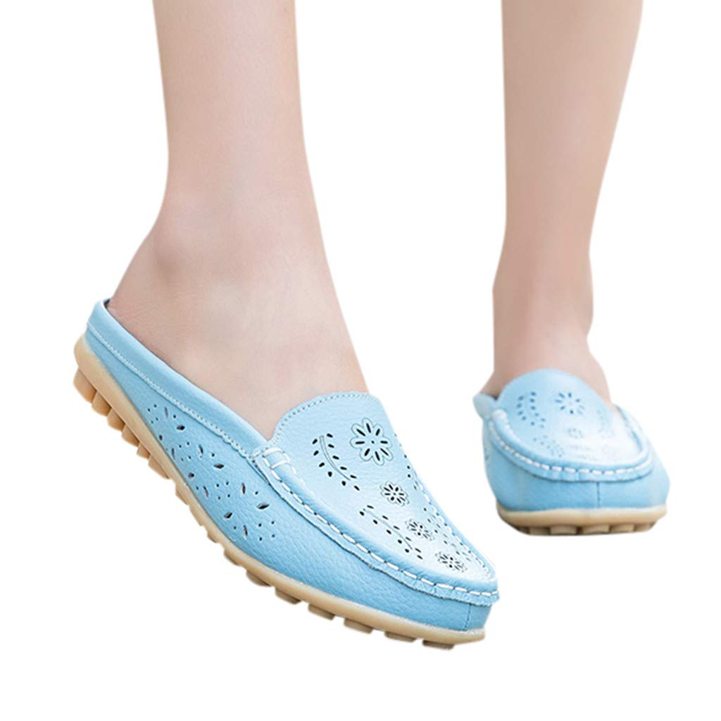 Womens Girls Comfy Flat Loafers Retro Floral Hollow Slingback Single Shoes Casual Vintage Shallow Non Slip Slippers Sandals